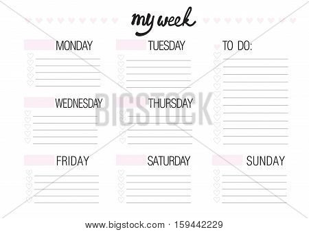 weekly planer isolated in white blank template