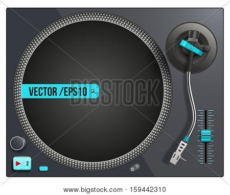 Modern black and blue turntable. Vector illustration isolated on white background