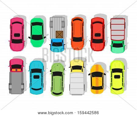 Multicolor cars isolated on white. City parking vector. Shortage parking spaces, transport boom concept. Large number of cars in parking. Urban infrastructure vector illustration in flat design.