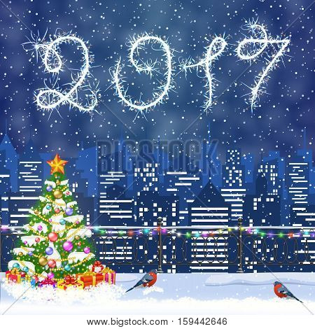 happy new year and merry Christmas Winter Cityscape with christmas tree, snow flakes. Christmas card with cityscape and fireworks, 2017 with sparklers