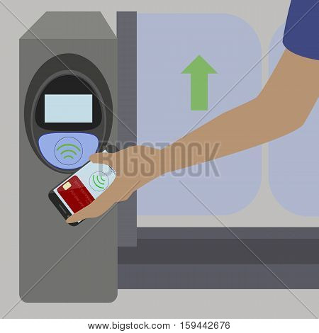 Man holding mobile phone with credit card on the screen paying wirelessly terminal in subway .Vector illustration
