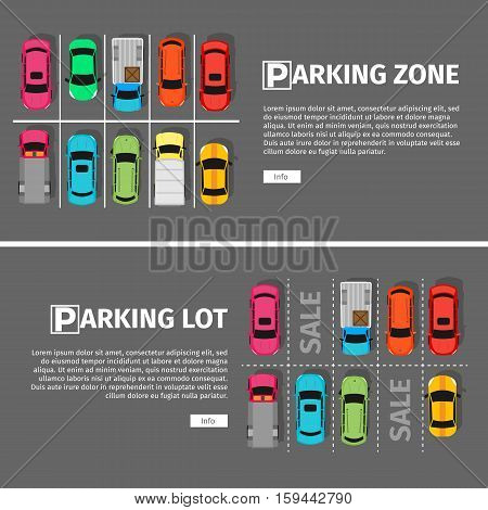City parking vector web banner. Flat style. Shortage parking spaces. Large number of cars in a crowded parking. Urban infrastructure and car boom. Parking lot and parking zone