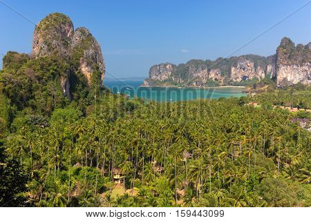 Viewpoint on a tropical bay with palm tree forest in Ao Nang, Krabi province, Thailand