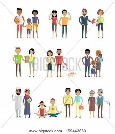 Smiling people characters set. Men and women, boys and girls in various poses with different objects in hands. Smiling young personages in flat design isolated on white background. Vector illustration