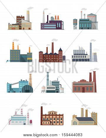 Set of industry manufactory building icons. Factories producing oil and gas, metals and rubber, energy and power. Destroying nature. Collection of eco friendly factories. Vector illustration