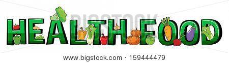 Font design for word health food illustration