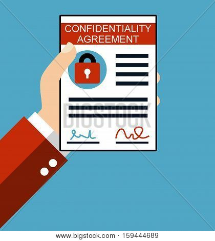 Hand holding Confidentiality Agreement - Flat Design