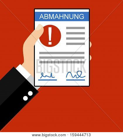 Hand holding Written Warning in german language - Flat Design