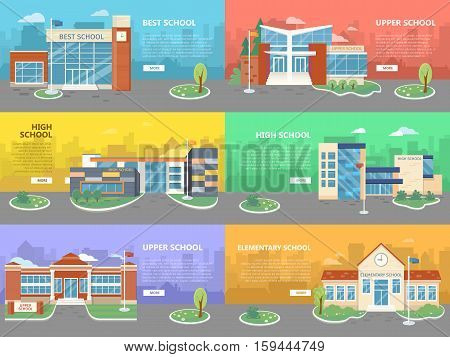 Set of school buildings in flat design. Architectural variations. Public educational institution. Various modern projects of educational establishments. School facades and yards. Vector illustration