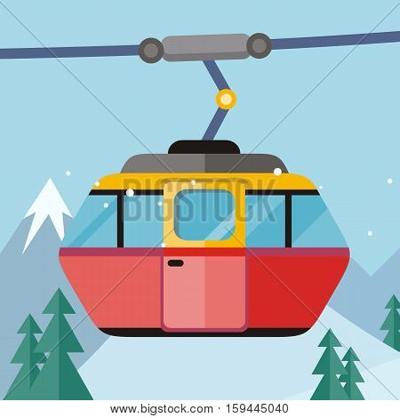 Cable car vector illustration. Flat design. Cab for people transportation on ropeway, winter mountain landscape in background. Cold season entertainments and outdoor activity. For ski resort ad