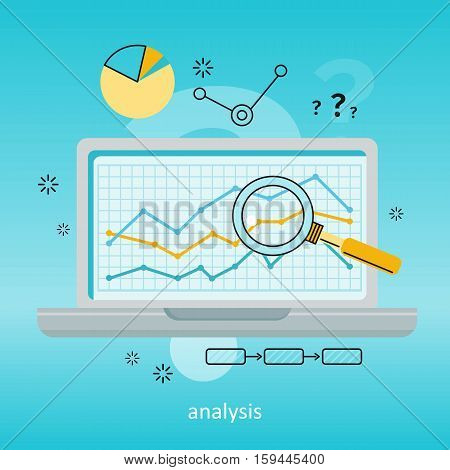 Laptop with magnifier and diagram on screen. Laptop with infographics on blue background. Concept of online business, commerce, statistics, information analysis. Business background. Illustration