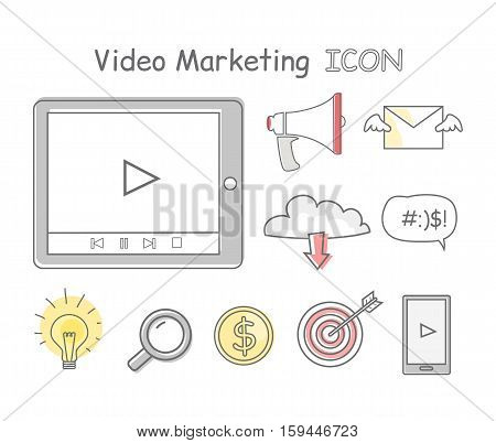 Video marketing icons isolated on white. Collection of video marketing icons. Items to promote products and services based on video. Online video, internet technology and media social marketing
