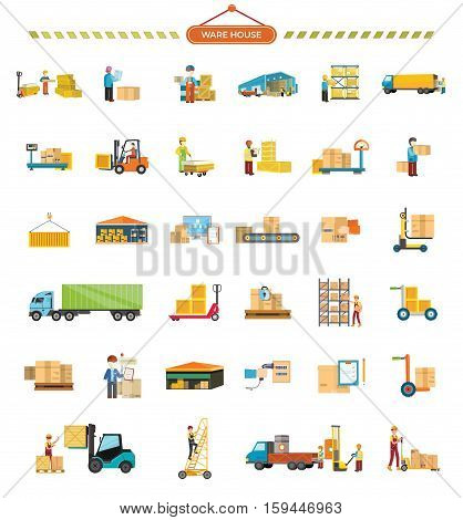 Set of Warehouse icons. Flat design. Warehouse, elevator, container, truck, ladder, conveyor, weight, hangar, package box worker messenger courier pictograms for cargo and delivery services