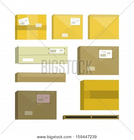 Set of cartoon box. Box and cartoon, carton box, paper box, cartoon frame, cardboard container, cargo cartoon box illustration in flat. Box icon set. Isolated illustration on white background.