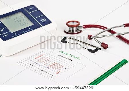 Vitals sign chart Medical Graphs and Measuring blood pressure with red stethoscope on white background. Vital sign record concept