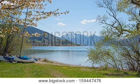 Pictorial Lake Tegernsee In April, Lake Shore With Catamaran And Blooming Cherry Tree