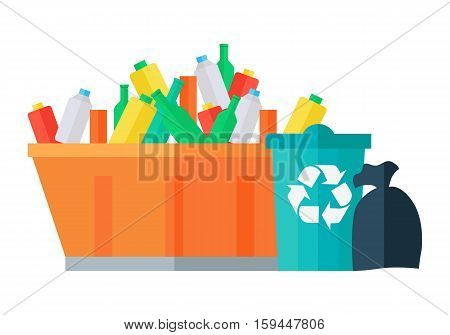 Containers for garbage vector illustration. Flat design. Huge street tank for waste full of glass and plastic bottles near bin with recycling sign and trash bag. Waste sorting and recycling concept.