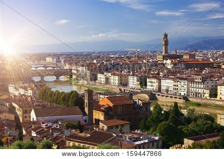 The clock tower of the Old Palace (Palazzo Vecchio) in Signoria Square Florence (Italy).