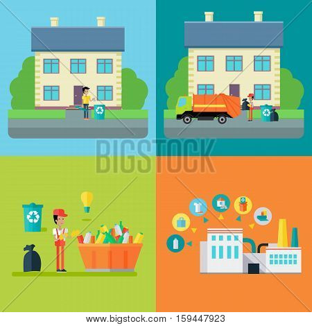 Set of waste recycling concept vectors. Flat design. Stages of processing trash, from throw-out, transportation, sorting and recycle. Environmental protection, pollution prevention, waste recycling