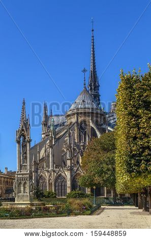 Notre-Dame de Paris is a medieval Catholic cathedral in Paris. View east side of the cathedral