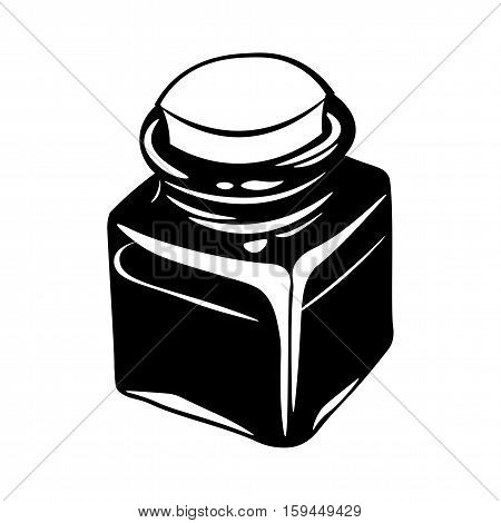 Inkwell Black. Vector Illustration Isolated On White Background