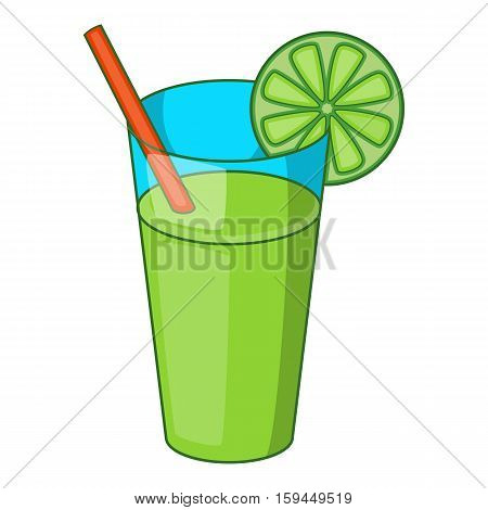 Glass of green cocktail icon. Cartoon illustration of glass of green cocktail vector icon for web