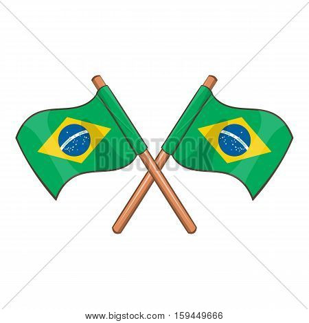 Crossed flags of Brazil brazil icon. Cartoon illustration of crossed flags of Brazil vector icon for web