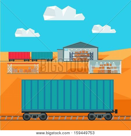 Train worldwide warehouse delivering. Logistics container shipping and distribution. Transportation to any part of the world. Railway delivering. Loading and unloading boxes. Vector illustration