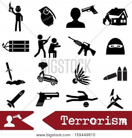 Terrorism Theme Set Of Simple Icon Eps10