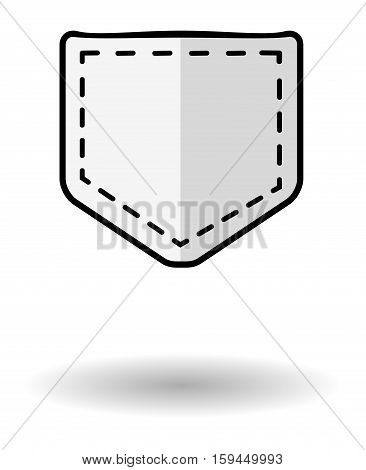 Jeans pocket vector icon with shadow. White pocket icon isolated over white background