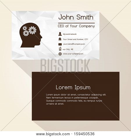 Wrinkled White Paper Brown Business Card Design Eps10
