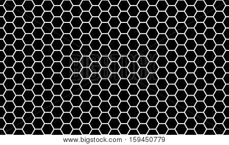 Honeycomb pattern background black and white seamless