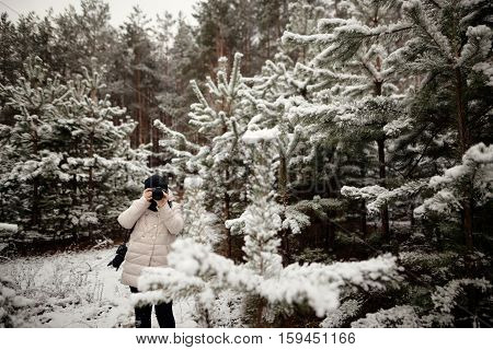 Photographer To Take Pictures In The Winter Forest