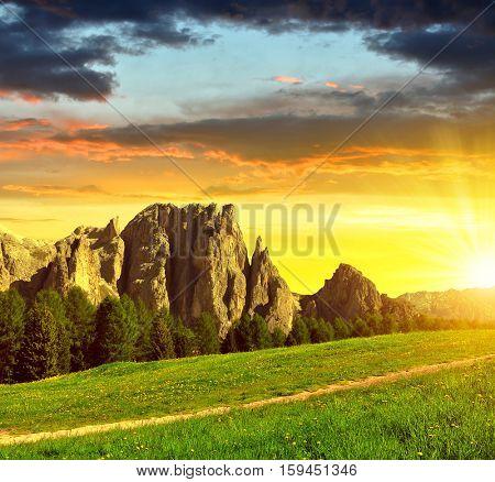 Beautiful mountain landscape at sunset. Valle del Vajolet in Dolomites,Italien Alps