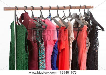 elegant dress on a hanger. light background