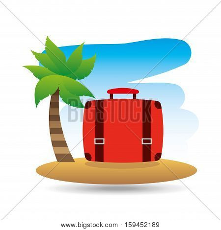 tropical vacation beach suitcase luggage vector illustration eps 10