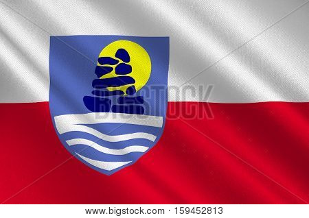 Flag of Sermersooq municipality in Greenland. 3d illustration