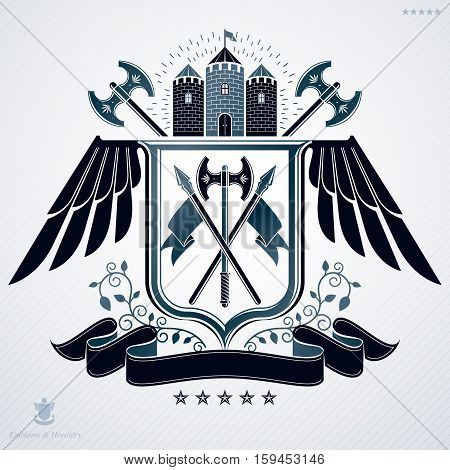 Vector emblem vintage heraldic design created with hatchets and medieval stronghold