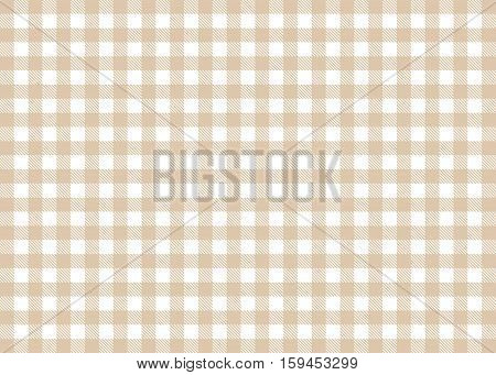 Traditional illustration of tablecloth background - Brown White checks