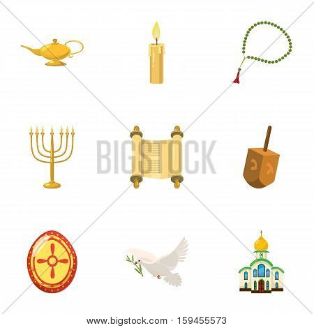 Religious faith icons set. Cartoon illustration of 9 religious faith vector icons for web