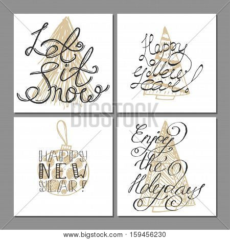 Set of 4 christmas greeting cards with typography overlays. Merry Christmas and Happy new year.