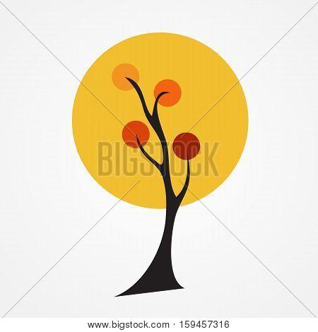 Autumn tree vector illustration on white Background. EPS10