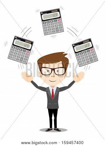 Businessman or manager juggling a calculators in his hands. Profit, finances concept. Vector, flat, illustration