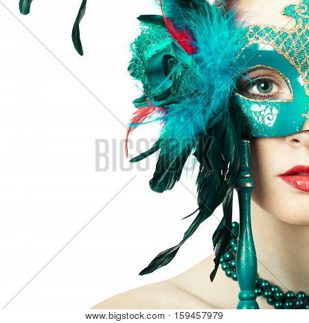 Beauty model woman wearing venetian masquerade carnival mask. Christmas and new year. Perfect makeup