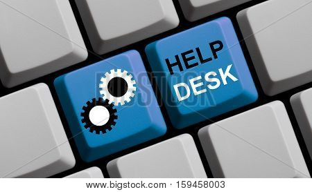 Blue computer keyboard with symbol showing Helpdesk