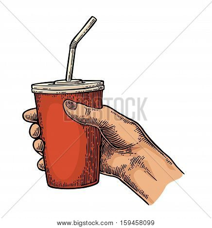 Female hand holding a disposable paper red cup cola with straws and cap. Isolated on white background. Vector color engraving illustration for poster menus web banner icon