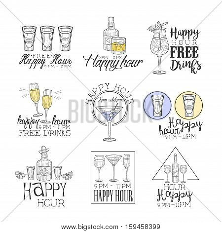 Cocktail Bar Happy Hour Promotion Sign Design Template Collection Of Hand Drawn Hipster Sketches With Different Drinks And Glasses. Cool Illustrations With Advertisement Elements For The Cafe Free Drinking Time.