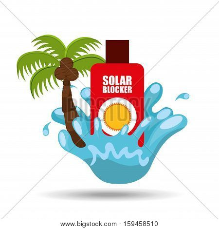 solar blocker water splash palm summer vacation vector illustration