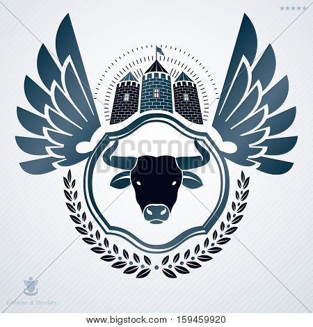 Vintage Decorative Heraldic Vector Emblem Composed With Bull Head Illustration And Medieval Strongho