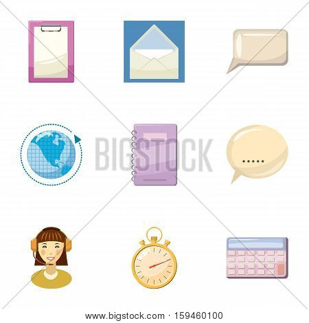 Round clock consultation icons set. Cartoon illustration of 9 round clock consultation vector icons for web